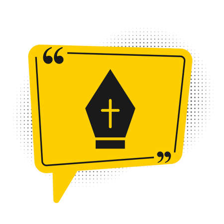 Black Pope hat icon isolated on white background. Christian hat sign. Yellow speech bubble symbol. Vector  イラスト・ベクター素材