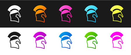 Set Greek helmet icon isolated on black and white background. Antiques helmet for head protection soldiers with a crest of feathers or horsehair. Vector  イラスト・ベクター素材