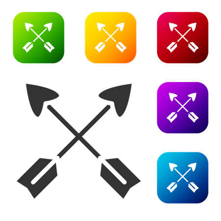 Black Crossed arrows icon isolated on white background. Set icons in color square buttons. Vector