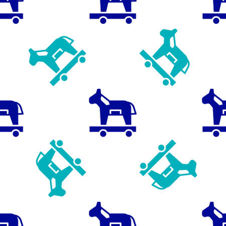 Blue Trojan horse icon isolated seamless pattern on white background. Vector