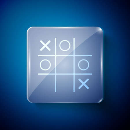 White Tic tac toe game icon isolated on blue background. Square glass panels. Vector Çizim