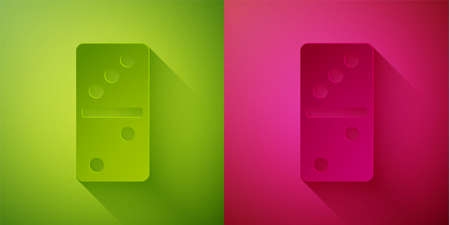 Paper cut Domino icon isolated on green and pink background. Paper art style. Vector