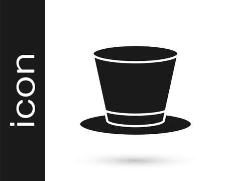 Black Cylinder hat icon isolated on white background. Vector Vecteurs
