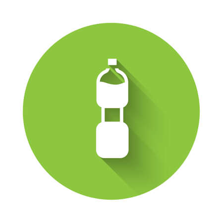 White Bottle of water icon isolated with long shadow. Soda aqua drink sign. Green circle button. Vector