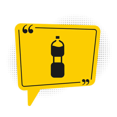 Black Bottle of water icon isolated on white background. Soda aqua drink sign. Yellow speech bubble symbol. Vector