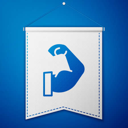 Blue Bodybuilder showing his muscles icon isolated on blue background. Fit fitness strength health hobby concept. White pennant template. Vector