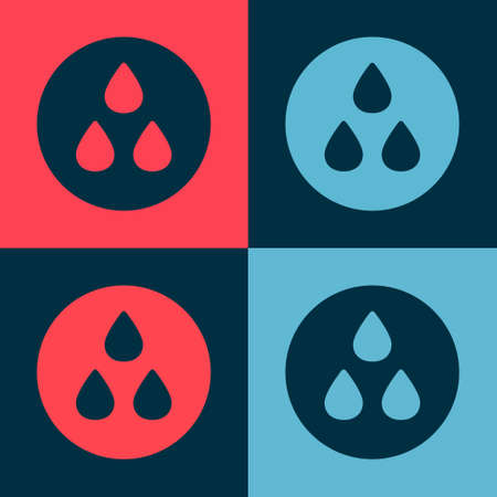 Pop art Water drop icon isolated on color background. Vector