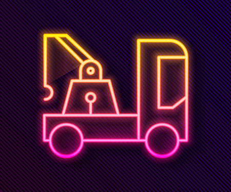 Glowing neon line Tow truck icon isolated on black background. Vector Illustration Stock Illustratie