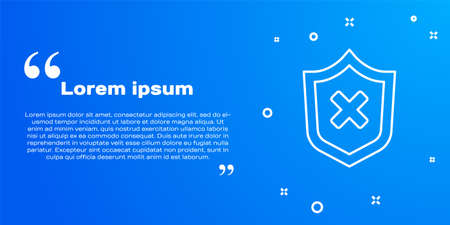 White line Shield with cross mark icon isolated on blue background. Shield and rejected. Notice of refusal. Vector Ilustrace