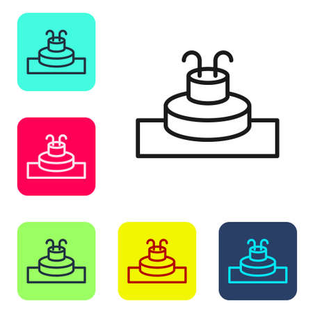 Black line Fountain icon isolated on white background. Set icons in color square buttons. Vector  イラスト・ベクター素材