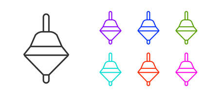 Black line Whirligig toy icon isolated on white background. Set icons colorful. Vector Vettoriali