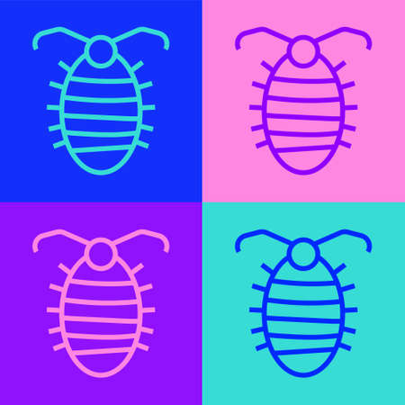 Pop art line Larva insect icon isolated on color background. Vector