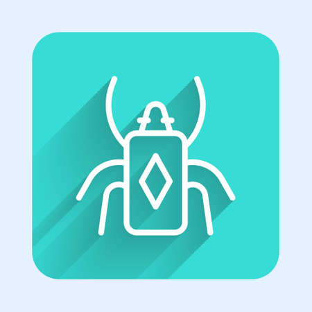 White line Beetle bug icon isolated with long shadow. Green square button. Vector