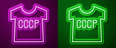 Glowing neon line USSR t-shirt icon isolated on purple and green background. Vector