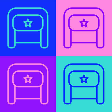 Pop art line Ushanka icon isolated on color background. Russian fur winter hat ushanka with star. Soviet Union uniform of KGB and NKVD. Vector