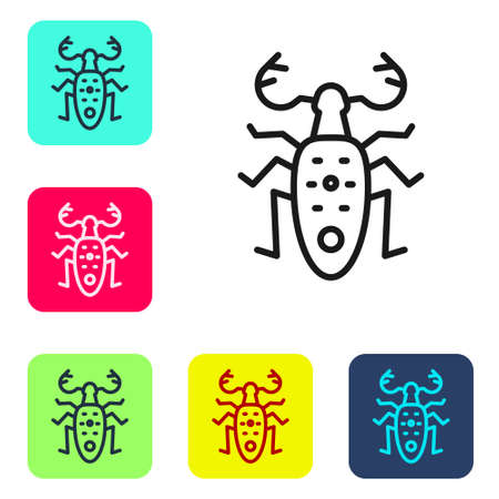 Black line Beetle deer icon isolated on white background. Horned beetle. Big insect. Set icons in color square buttons. Vector