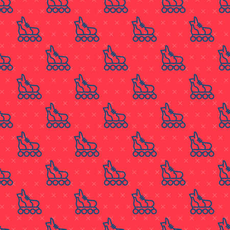 Blue line Roller skate icon isolated seamless pattern on red background. Vector