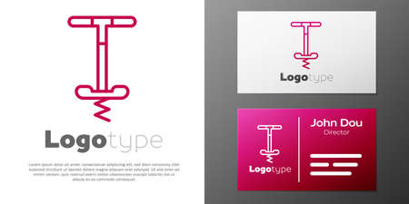 Logotype line Pogo stick jumping toy icon isolated on white background. 向量圖像