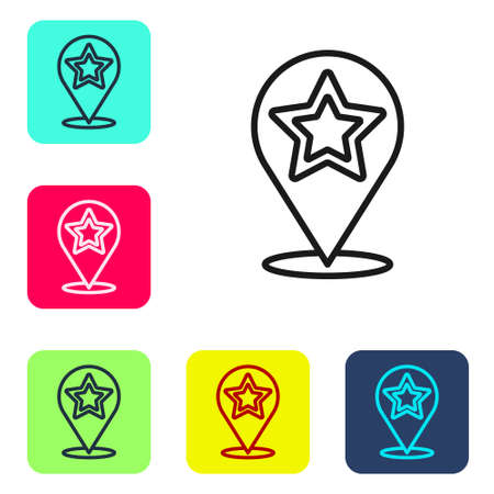 Black line Map pointer with star icon isolated on white background. Star favorite pin map icon. Map markers. Set icons in color square buttons. Vector Ilustração