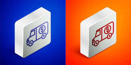 Isometric line Armored truck icon isolated on blue and orange background. Silver square button. Vector
