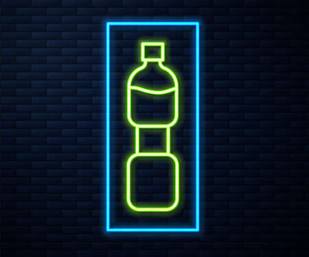 Glowing neon line Bottle of water icon isolated on brick wall background. Soda aqua drink sign. Vector  イラスト・ベクター素材