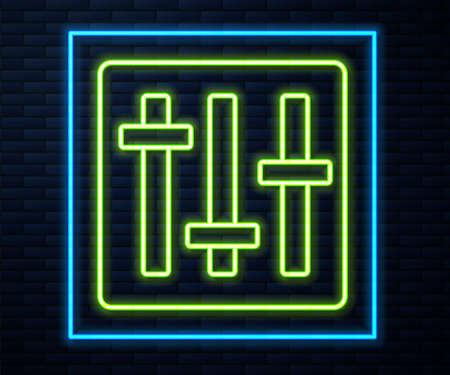 Glowing neon line Sound mixer controller icon isolated on brick wall background. Dj equipment slider buttons. Mixing console. Vector