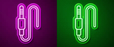 Glowing neon line Audio jack icon isolated on purple and green background. Audio cable for connection sound equipment. Plug wire. Musical instrument. Vector 矢量图像