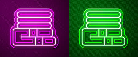 Glowing neon line Towel stack icon isolated on purple and green background. Vector