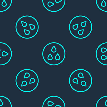 Green line Water drop icon isolated seamless pattern on blue background. Vector