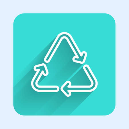 White line Recycle symbol icon isolated with long shadow. Circular arrow icon. Environment recyclable go green. Green square button. Vector