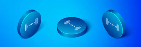 Isometric Chassis car icon isolated on blue background. Blue circle button. Vector Illustration