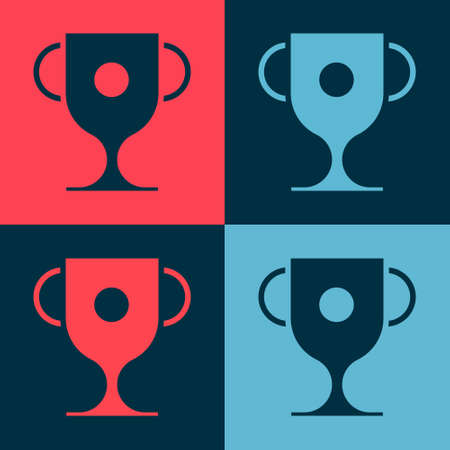 Pop art Award cup icon isolated on color background. Winner trophy symbol. Championship or competition trophy. Sports achievement sign. Vector Illustration