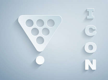 Paper cut Billiard balls in a rack triangle icon isolated on grey background. Paper art style. Vector Illustration