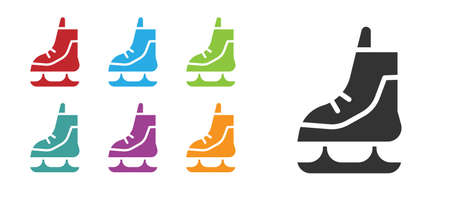 Black Skates icon isolated on white background. Ice skate shoes icon. Sport boots with blades. Set icons colorful. Vector Illustration