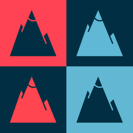 Pop art Mountains icon isolated on color background. Symbol of victory or success concept. Vector Illustration