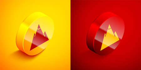 Isometric Mountains icon isolated on orange and red background. Symbol of victory or success concept. Circle button. Vector Illustration