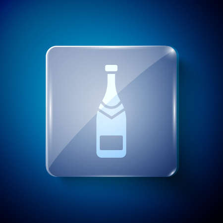 White Champagne bottle icon isolated on blue background. Square glass panels. Vector Illustration
