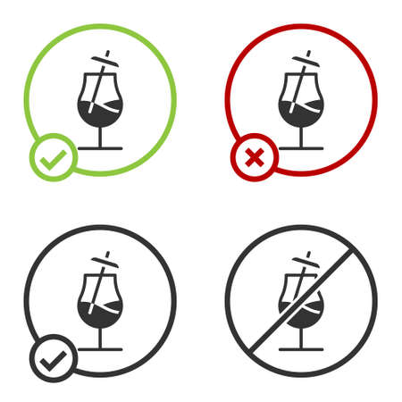 Black Cocktail icon isolated on white background. Circle button. Vector Illustration
