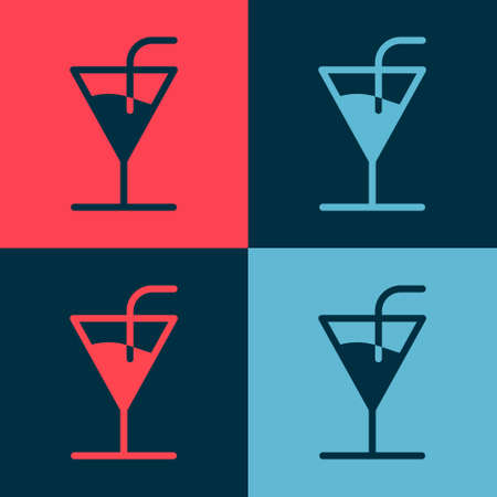 Pop art Cocktail icon isolated on color background. Vector Illustration