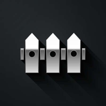 Silver Garden fence wooden icon isolated on black background. Long shadow style. Vector Illustration Ilustracja