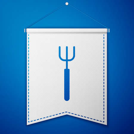 Blue Garden pitchfork icon isolated on blue background. Garden fork sign. Tool for horticulture, agriculture, farming. White pennant template. Vector