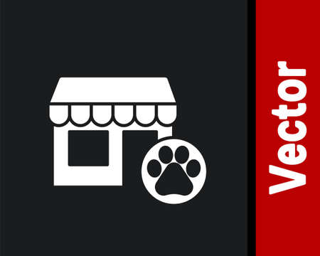 White Veterinary medicine hospital, clinic or pet shop for animals icon isolated on black background. Vet or veterinarian clinic. Vector