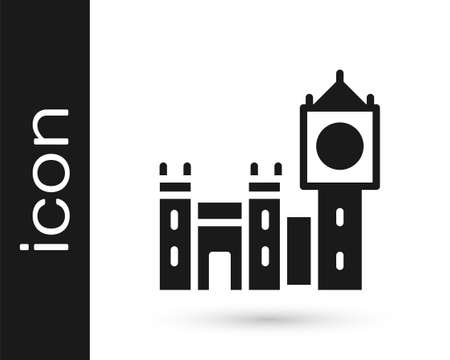 Black Big Ben tower icon isolated on white background. Symbol of London and United Kingdom. Vector