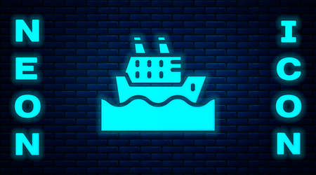 Glowing neon Cruise ship in ocean icon isolated on brick wall background. Cruising the world. Vector  イラスト・ベクター素材