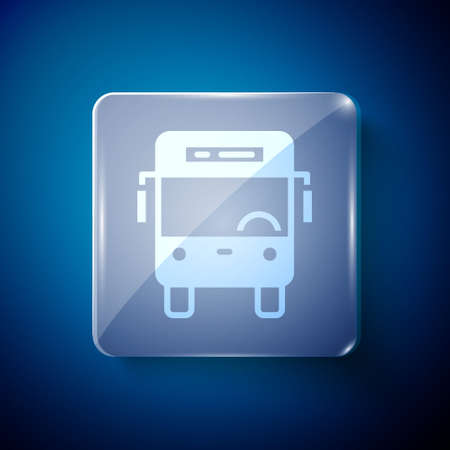 White Bus icon isolated on blue background. Transportation concept. Bus tour transport sign. Tourism or public vehicle symbol. Square glass panels. Vector