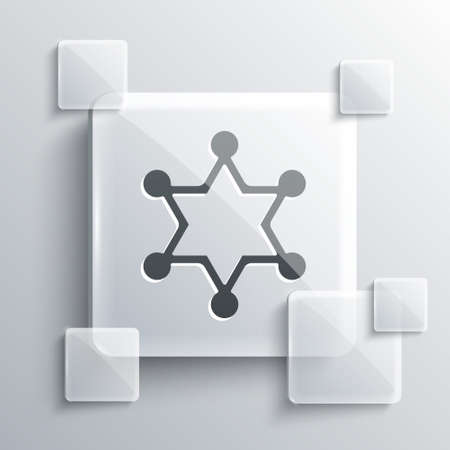 Grey Hexagram sheriff icon isolated on grey background. Police badge icon. Square glass panels. Vector