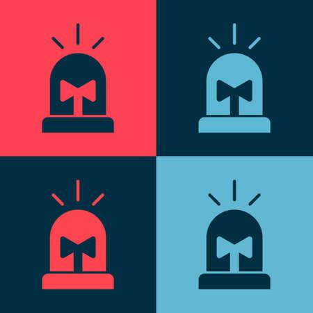 Pop art Flasher siren icon isolated on color background. Emergency flashing siren. Vector Ilustración de vector