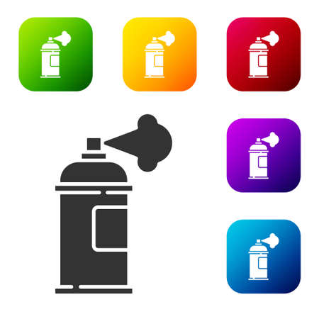Black Paint spray can icon isolated on white background. Set icons in color square buttons. Vector Ilustrace