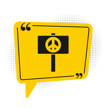 Black Peace icon isolated on white background. Hippie symbol of peace. Yellow speech bubble symbol. Vector 일러스트