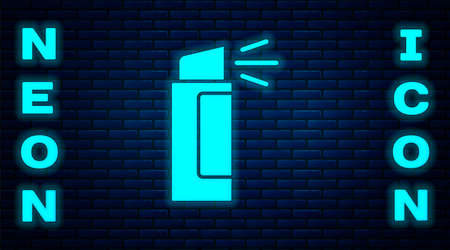 Glowing neon Pepper spray icon isolated on brick wall background. OC gas. Capsicum self defense aerosol. Vector